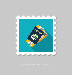 passport with tickets stamp summer vacation vector image