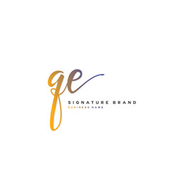 Q e qe initial letter handwriting and signature vector