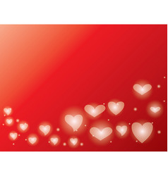 Red background with shiny hearts - valentines day vector