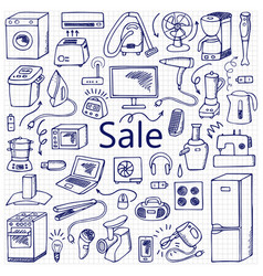 sale household doodle set vector image