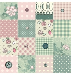 Seamless patchwork in shabchic style vector