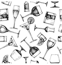 Seamless pattern with different glasses goblets vector