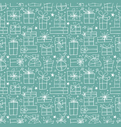 seamless pattern with white doodle gift boxes on vector image
