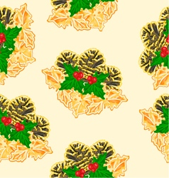Seamless texture pine cones and holly vector
