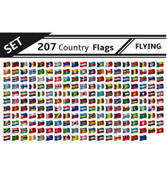 set 207 country flags flying vector image