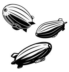 set aerostat on white background airships vector image