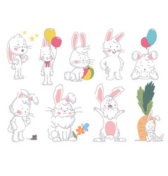 set funny cute collor bunny in in different vector image