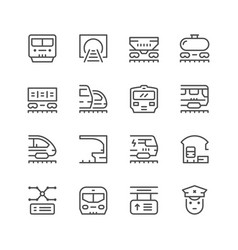 Set line icons of railroad vector