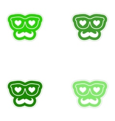 Set of paper stickers on white background mustache vector