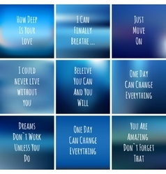 set of square blue backgrounds with motivational vector image