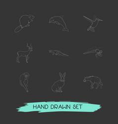 set of zoology icons line style symbols with hyena vector image