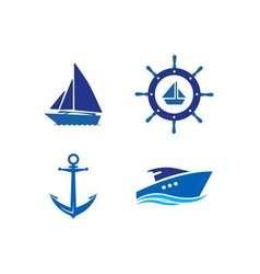 Ship Wheel Anchor and Yacht logo - isolated vector