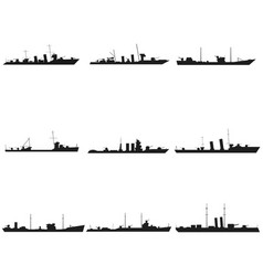 ships silhouettes set black icon on white vector image