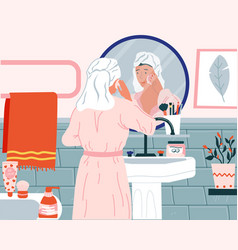 Skincare routine cartoon woman washing face in vector