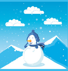 snowman with winter landscape of christmas vector image