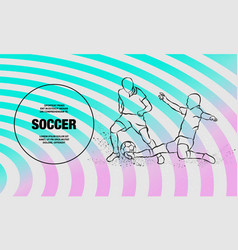 Soccer player hits ball in tackle vector