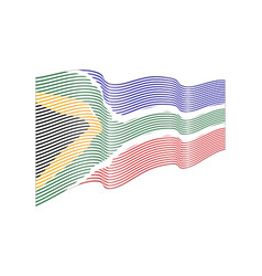 south africa flag on white background wave vector image