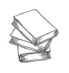 stack books sketch hand drawn books vector image