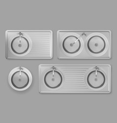 Stainless kitchen sinks with taps in top view vector