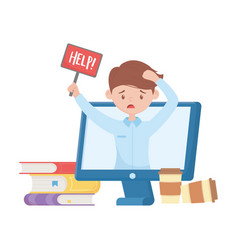 Stress at work employee with help sign video vector