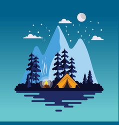 Summer camp background with beautiful landscape vector