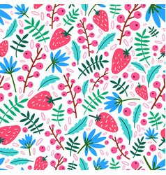Summer seamless pattern with strawberries flowers vector