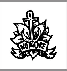 tattoo with anchor on background of the leaves vector image