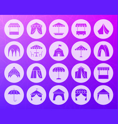 tent shape carved flat icons set vector image