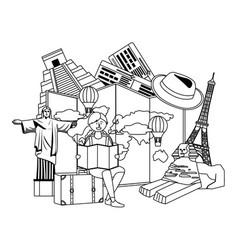 Tourist girl cartoon with bag design vector