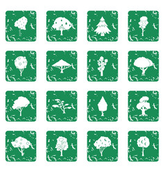 Trees icons set grunge vector