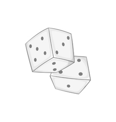 Two dice cubes icon black monochrome style vector image