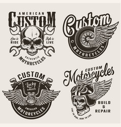 vintage custom motorcycle emblems vector image