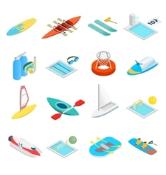Water sport isometric 3d icons vector image