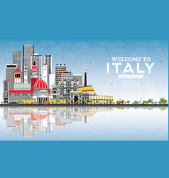 Welcome to italy city skyline with gray buildings vector