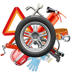 Wheel with car accessories vector