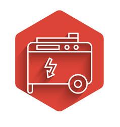 White line portable power electric generator icon vector