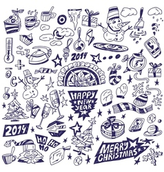 Winter doodles vector image