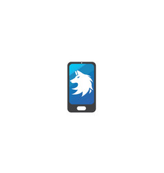 wolf head logo fox face design in a smartphone vector image