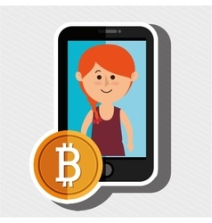 Woman smartphone bit coin vector