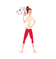 woman using application for weight loss takes vector image