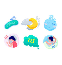 zzz sleep icons set isolated on white background vector image