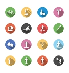 F isolated sport icons in flat design with long vector