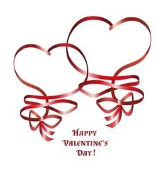 heart ribbon bow vector image vector image