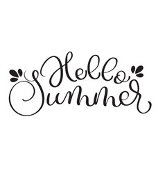 hello summer text on white background hand drawn vector image vector image
