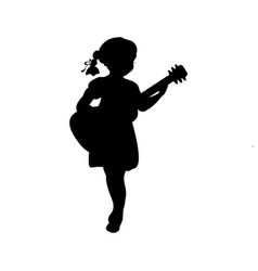 silhouette girl music playing guitar vector image