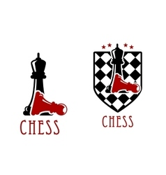 Chess icon with queens over fallen pawns vector image vector image