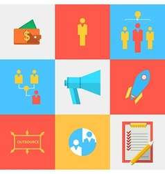 Flat icons for outsource team vector image vector image