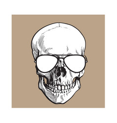 hand drawn human skull wearing black and white vector image vector image