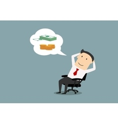 Happy businessman dreaming about money vector image