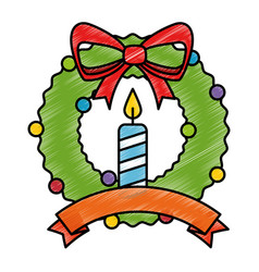 merry christmas wreath crown with candles vector image